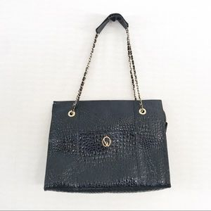 St. John Black Croc Embossed Chain Link Tote Bag